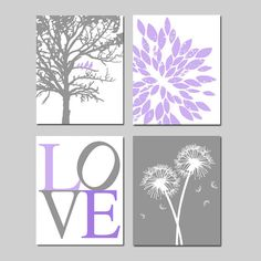 Lavender Purple Gray Baby Girl Nursery Art Quad -  Birds in a Tree, LOVE, Abstract Floral, Dandelions - Set of Four 11x14 Prints on Etsy, $75.00