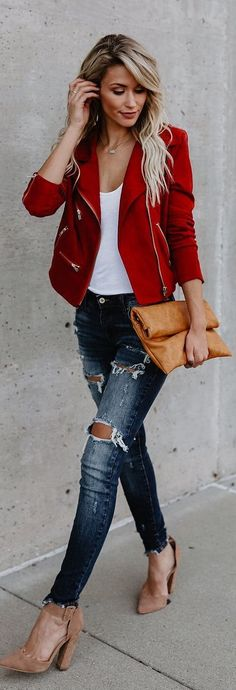 #fall #outfits red jacket ripped jeans