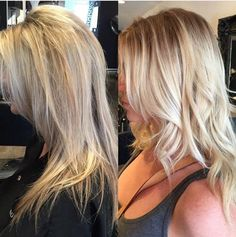 Before and after root smudge and Balayage by Jonathan and styled by Kellen
