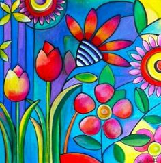 her work as whimsical pop art always using vibrant colors and happyRainbow Colours is the mostly Beautiful & Colourfull Colours in this world already.Wild Flowers by Carla BankI like it Barry pretty flowers and roses zEntAgle pEn ovEr pAint dEtAiling. Silk Painting, Hand Painting Art, Painting & Drawing, Art Furniture, Painted Furniture, Art Pop, Wal Art, Naive Art, Whimsical Art