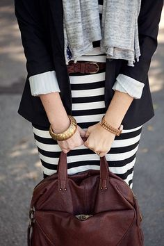 Blazer with stripy skirt. A nice Fall work outfit.