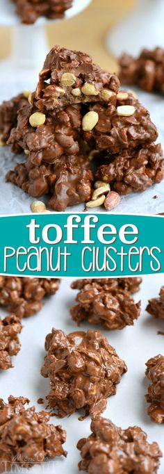 These Toffee Peanut Clusters are made in the microwave and use only FIVE ingredients A simple delicious easy candy recipe that everyone will enjoy Great for gifts Mom On. Easy Candy Recipes, Best Dessert Recipes, Cookie Recipes, Sweet Recipes, Köstliche Desserts, Delicious Desserts, Yummy Food, Yummy Treats, Sweet Treats