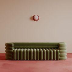 "Seating sculpture: Paris-based Benjamin Guedj ( designed this showstopper of a sofa with semi-circular armrests and tubular-style…"" Sofa Design, Design Design, Furniture Inspiration, Interior Inspiration, Sofa Furniture, Furniture Design, Sofa Sofa, Chesterfield Sofas, 2 Seater Sofa"