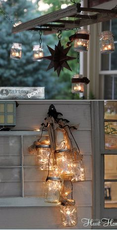 28 Stunning DIY Outdoor Lighting Ideas ( & So Easy! ) 28 inspiring DIY outdoor lighting ideas using solar lights or market string lights to create beautiful patio, porch, & backyard lighting easily! Backyard Lighting, Outdoor Lighting, Outdoor Decor, Lighting Ideas, Candle Lighting, Vibeke Design, Exterior Lighting, Garage Lighting, Outdoor Landscaping