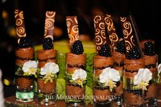 Chocolate Blackberry Mousse Shots        Desserts by: Sugar and Spice Specialty Desserts Photographer: The Memory Journalists