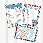 Dr. Seuss THING 1 THING 2 Baby Shower Printable GAMES- - 3 Pack. $8.00 ...