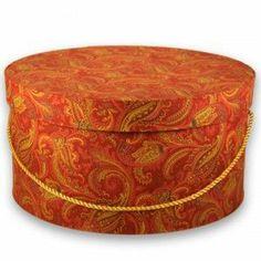 Burnt Orange Paisley L'Artisane Hatbox