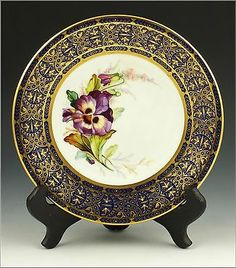 Lovely 19th C Royal Worcester Botanical Plate w/ Enamel Jewelling