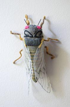 Fabric sculpture Dark gray cicada textile art by irohandbags