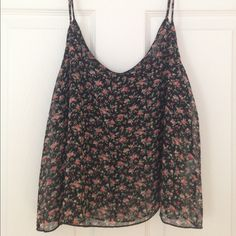 Forever 21 Sheer Floral Floaty Chiffon Top Forever 21 sheer floral black/red/green floaty chiffon (polyester)  top with spaghetti straps. Size L (I'm a small, but the one time I wore it, it was just extra floaty!). Worn once, as new. Forever 21 Tops Camisoles