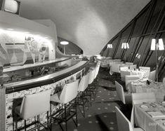 "August 29, 1962. New York. ""TWA terminal, Idlewild. Union News restaurants -- Lisbon Lounge II. Raymond Loewy."""