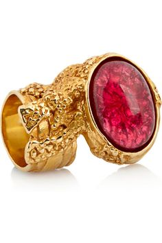 Yves Saint Laurent Arty Gold-plated Glass Ring:Textured finish, 'love' engraving at band, designer stamp at interior Gold-plated tin, Large cerise flecked glass stone