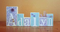 Baby Shower Decor- Personalized Wood Blocks- Purple and Mint Nursery Baby Shower Blocks- Shabby Chic Letter Blocks- Baby Name Blocks