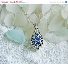 Sea glass locket necklace Blue by EgyptianInspirations, $21.59