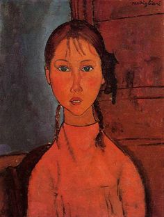 Hand painted oil painting reproduction on canvas of Girl with Braids by artist Amedeo Modigliani as gift or decoration by customer order. Description from chinaoilpaintinggallery.com. I searched for this on bing.com/images