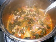 """This is my version of """"Caldo Gallego"""" (Galician Stew) which is a popular bean stew cooked in the Northwestern region of Spain called """"Galici. Caldo Gallego Recipe Spain, Pan Frito, Pork Stew, Spanish Dishes, Bean Stew, Mexican Cooking, Cuban Recipes, Meals For The Week, Kitchens"""