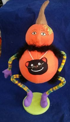 "21"" Pumpkin Person  with plaid arms and legs w/ cat necklace. boa Fall Halloween"