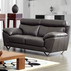 Noci Leather Reclining Loveseat