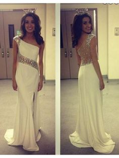 One Shoulder White Beaded Long Prom Dress With Slit