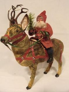 Santa on Fur Reindeer Merry Christmas To All, German Christmas, Old Fashioned Christmas, The Night Before Christmas, Victorian Christmas, Primitive Christmas, Father Christmas, Vintage Christmas, Christmas Holidays