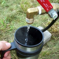 Camp Hot Water  Heater with an easy to use Dispensing Feature~  Make a large-volume, propane, camp water heater that dispenses hot water like a kitchen faucet.