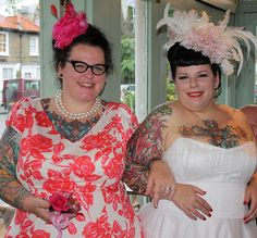 Tattoed bride and bridesmaid. Dresses and hats by Gina Lee Bean.