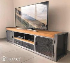 Mesa Rack Tv Industrial Madera Hierro 1,9 Mts - $ 29.500,00