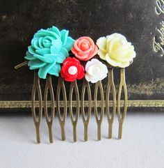 Hair Comb Aqua Red Peach Pink Cream Ivory Wedding by Jewelsalem, $16.90