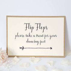 Wedding Flip Flops Sign - take a treat for your dancing feet - Ivory Cream & Kraft Wedding Flip Flops, Love Is, Wedding Planner, All Things, Our Wedding, Wedding Decorations, Take That, Place Card Holders, Invitations