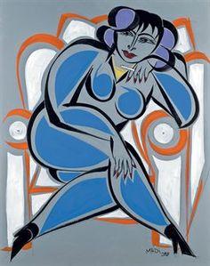 Hussein Madi - femme en bleu