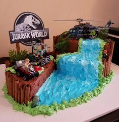 A cake a made for my nephew who loves legos and Jurassic World. Lego Jurassic World, Park Birthday, Birthday Fun, Dinosaur Birthday Cakes, Dinosaur Cakes For Boys, Bolo Lego, Volcano Cake, Jurassic Park Party, Dino Cake