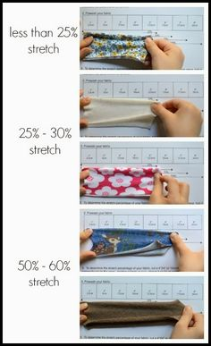 """Cut a 4""""X4""""(10cmX10cm) piece of fabric, fold it perpendicular with the grain line. Download and print this stretch percentage guide with ti..."""