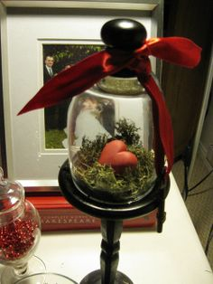Valentine Cloche  -- prim touch.  And great idea - paint my thrift store find cloche in black!