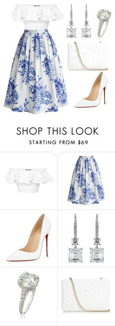 """PORCELAIN"" by karinelechka ❤ liked on Polyvore featuring Alexander McQueen, Chicwish, Christian Louboutin, Harry Winston, Ross-Simons and Anya Hindmarch"