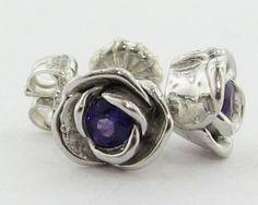 Petite Rose Earrings, Amethyst