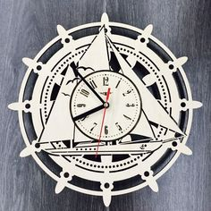 Ship Wall Clock Wood Room Boat Home Decor Gifts Marine Theme Kitchen Office Business Christmas Anniversary Birthday Steeering Wheel Clock Wall Clock Wooden, Wood Clocks, Wood Wall, Ships Clock, Cd R, Marine Gifts, Record Clock, Unique Gifts For Him, Unique Wall Clocks