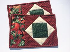 Christmas Quilted Mug Rugs Coasters by Heathersquaintquilts on Etsy