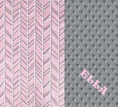 Minky Baby Blanket Girl, Silver Gray Pink Herringbone Personalized Baby Blanket - by Sewingdreamsnotions on Etsy Pink & gray nursery theme - personalized baby gift.