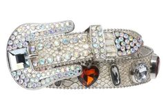 Snap On Western Cowgirl Snake Texture Crystal Conchos Leather Belt Size: M/L - 38 Color: Off White beltiscool,http://www.amazon.com/dp/B004WX25EA/ref=cm_sw_r_pi_dp_4VyMrb7287DD4D8C