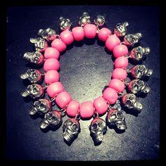 serious and sweet pink beaded skull bracelet <3