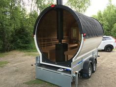 "Barrel Sauna with glass-wall permanently built on trailer. Officially registered and certificated as ""Sauna on wheels"""