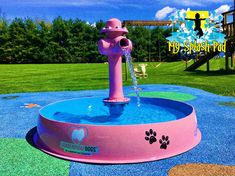 Dog Bowl With Hydrant Water Play Features – Jaci Brown – pet resort Portable Dog Kennels, Indoor Dog Park, Dog Backyard, Backyard Games, Dog Playground, Dog Kennel Cover, Pet Hotel, Huge Dogs, Pet Resort