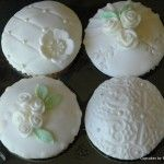 These cupcakes were samples designed for someone who is having a vintage themed wedding in March 2012.