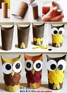 Kids Crafts, Owl Crafts, Crafts For Kids To Make, Toddler Crafts, Preschool Crafts, Easy Crafts, Kids Diy, Creative Crafts, Toilet Roll Craft