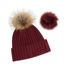 Cashmere Beanie Hat with Detachable Silver Fox and Raccoon Fur Poms (350 PLN) ❤ liked on Polyvore featuring accessories, hats, crown hat, cashmere pom pom beanie, pom pom beanie, cashmere pom pom hat and beanie caps