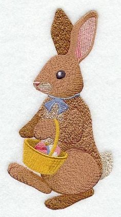 Machine embroidered rabbit