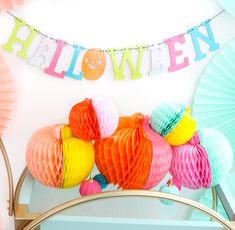 DIY Color blocked Honeycomb Pumpkins