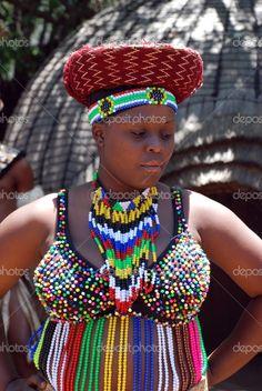 Zulu woman in her Zulu traditional attire!!