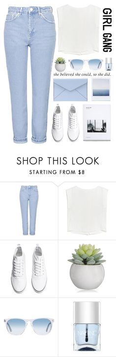 """""""I Feel Brand New"""" by blissfullbaily ❤ liked on Polyvore featuring Topshop, MANGO, H&M, Rebecca Minkoff, Oliver Peoples, Nails Inc., women's clothing, women, female and woman"""
