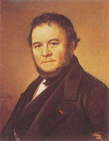 Stendhal was a dandy and wit about town in Paris, as well as an inveterate womaniser His genuine empathy towards women is evident in his books; He greatest novel The Red and the Black is a historical psychological novel in 2 volumes published in 1830 It chronicles the attempts of a provincial young man to rise socially beyond his modest upbringing through a combination of talent, hard work, deception, and hypocrisy. Stendhal suffered miserable physical disabilities in his final years .
